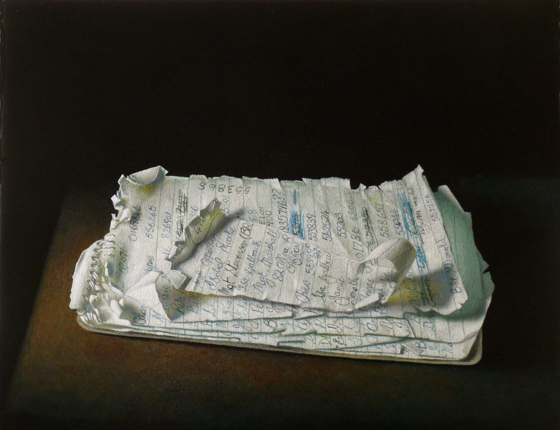 POSTMy Mothers Telephone Directory JAMES MCDONALD oil on canvas 15x20 inches 2014
