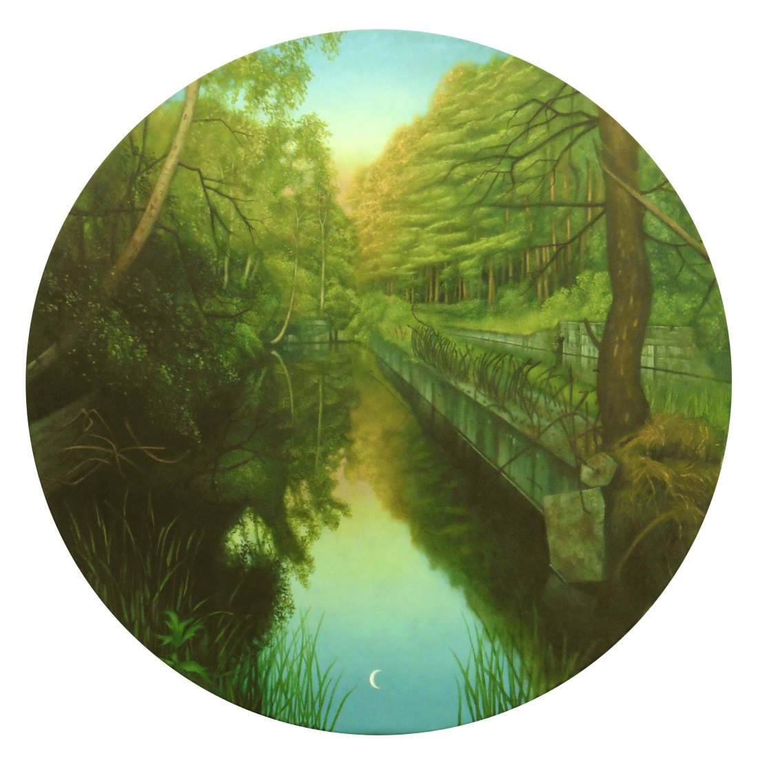 POST PRUFSTAND VII PEENEMUNDE Oil on Canvas 43 Inches Diameter James McDonald 2017